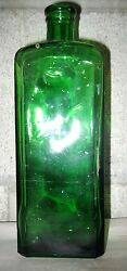 Vtg Green Pmp Medicine Bottle Pharmacy Pharmaceutical W Lots Of Air Bubbles Old