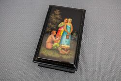 Russian Black Lacquer Box – Fairytale Box With Gold Detailing, Boy Playing Flute