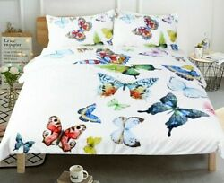 Duvet Cover Set Bedding Hypoallergenic Butterfly Printed Twill Soft Bed Case New