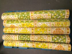 5 Rolls Of Vintage 1960's Original New Old Stock Vibrant Kitchen Wall Paper