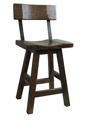 24 Swivel Barnwood Bar Stool Saddle Seat With A Back Multiple Colors Available