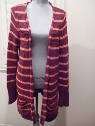 FREE PEOPLE NORTH BEACH STRIPED CARDIGAN SWEATER TOP SZ M $55.00