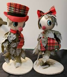 2 Vintage Holly Elves - Mr. And Mrs. - Japan - 8 1/2 Tall
