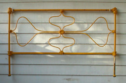 Antique Wrought Iron Farmhouse Bed Old Victorian Floral Design FREE CA PICK UP