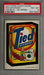 1973 Topps Wacky Packages Tied Detergent 1st Series Tan Back Psa 8 Nm-mt Card