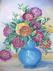 Blanche Fox Morey Arts And Crafts Gouache Opaque Water Color Painting Zinnias