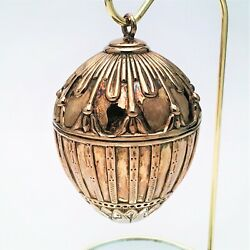 Rare J. Reed Gilt Sterling Silver Imperial And039rabbit Eggand039 Ornament