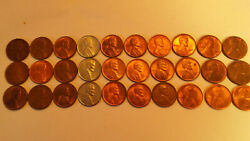 One Lot Of 30 About Un-circulatedau Lincoln Wheat Cents. 1940-p To 1949-s.