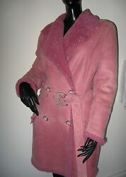 Vintage 80's Gianni Versace Couture Pink Suede Shearling Trench Coat 42 6-8