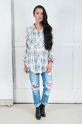 NWT THE LAUNDRY ROOM SzM THOREAU SPLIT BACK BUTTON DOWN SHIRT FRANCES PLAID$128.