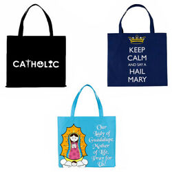 Black Catholic Tote Bags Our Lady of Guadalupe Keep Calm amp; Say a Hail Mary Blue $8.49
