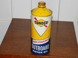 Sunoco Anti-fouling Outboard Motor Oil Empty 1 Quart Can