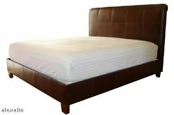 King Size Leather Bed, Jack Daniels Brown Genuine Leather - New
