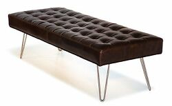 Mid Century Modern Dark Brown Button Tufting Leather Bench Ottoman Coffee Table