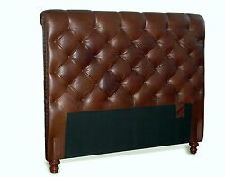 Queen Chesterfield Genuine Leather Headboard Button Diamond Tufting And Nail Heads