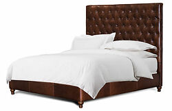 King Size Chesterfield Bed In Genuine Brown Leather With Deep Tufting