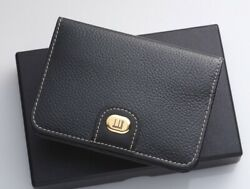 H5900M Dunhill Logo Metal Genuine Leather Business & Credit Card Case *Good