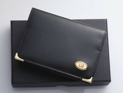 H5918M Dunhill Logo Metal Genuine Leather Business & Credit Card Case *Good