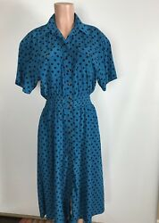Leslie Fay Collection Polka Dot Vintage Dress Elastic Waist Women's Size 8