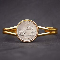Us 2004 Florida State Quarter Coin Gold Plated Cuff Bracelet - Beautiful