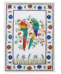 4and039x2and039 Marble Dining Table Top Multi Stone Floral And Parrot Inlay Interior Decors