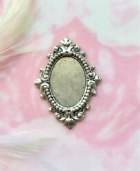 Antique Silver Cameo Filigree Cabochon Oval Setting Stamping 13x18mm Cb-3031