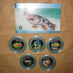 2002 Cook Island 2d Asia Wildlife Taiwan Fish Color Proof Silver Coin Set With