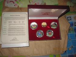 1993 Guinea Dinosaurs Color Proof Gold + Silver 5 Pcs Coins Set With Coa And Bo