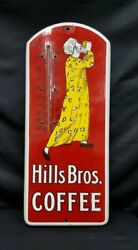 1915 Hills Brothers Coffee Porcelain Sign And Thermometer