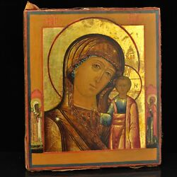 Antique Russian wood Icon of Virgin Mary, end of 18th or begginning of 19th c.