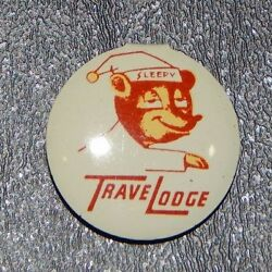 Rare Hard To Find Vintage Travel Lodge Sleepy Bear Pin Back 15/16th Of An Inch