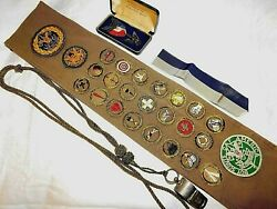 Rare 1930's Boy Scout Eagle Medal And Merit Badge Sash, Senior Scouting Patch,etc