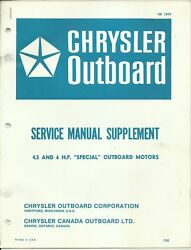 Chrysler Outboard Marine Service Manual Supplement 4.5 And 6 Hp Motors Ob 1899