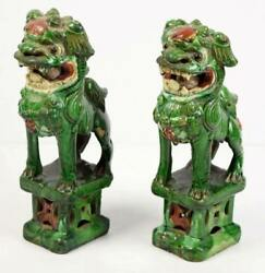 Rare Pair Of Chinese Green Glazed Guardian Lions Circa 1850 W/ Loose Ball