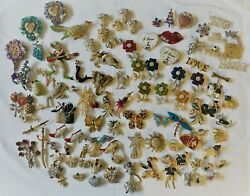 Huge Lot 100 New Pins Brooches W/ Crystals Rhinestones Variety Of Styles