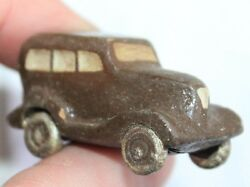 Russian Antique Primitive Old Toys Car Bus Clay Hand Carved