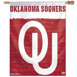 Oklahoma Sooners Ou College Vault 27x37 Banner Flag Brand New Wincraft