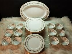 Noritake 6922 Gold Leaves, Gray, Taupe And Pink Leaves 37 Piece Set 12 Settings