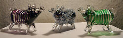 Crystal Pig Figurines In Murano Style