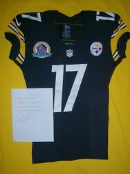 Pittsburgh Steelers 2012 Mike Wallace Signed Loa Game Used Worn Hof 50yrs Jersey