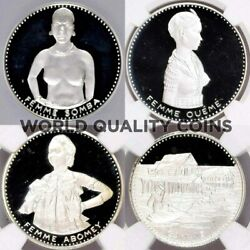 Dahomey 1971 Silver Proof Set 4 Coins 10th Independence Naked Woman Ngc Pf67-68