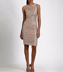 Reduced Price! Designer Dress Sequined Lace Size 14 NWT Carmen Marc Valvo