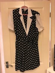 Vintage Leslie Fay Short Black and White Polkadot Playsuit - Size 10