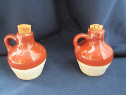Vintage Salt And Pepper Shakers - Jugs - Crock Pottery Stoneware Miniature Whiskey