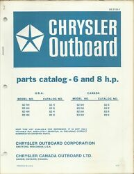 Chrysler Outboard Boat 6 And 8 Hp Model 62hh 63hh 82hh 83hh Parts Catalog Ob 21551
