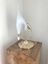 Italian Hand Blown Murano Glass Calla Lilly Table Lamp By Franco Luce