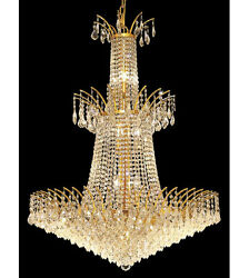 Palace Flamingo 18 Light Tower Foyer Crystal Chandelier Ceiling Light Gold