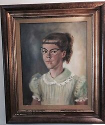 1955 Orig MARGARET KEANE  ULBRICH Oil Canvas Painting Girl: Big Cat Eye Glasses
