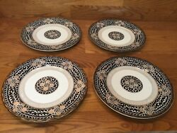 4 Rare Royal Tapestry By Georges Briard 10 1/2andrdquo Dinner Plates Black/gold