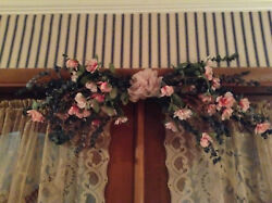 Vintage Pink Blossom And Potpourri Gathered Arch And Scrunched Ribbon Center 30''